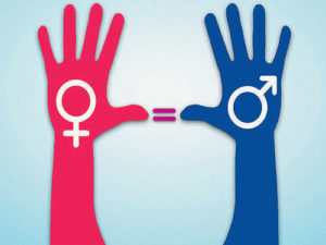 pink hand and blue hand with male and female symbols drawn inside of them with an equal sign in between the hands